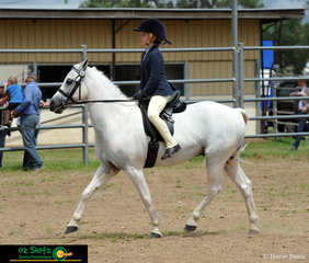 Trotting around for the judge in the Beginner Ring in the Independent Rider 6 years and Under 8 was  Amber Kahler on Jack
