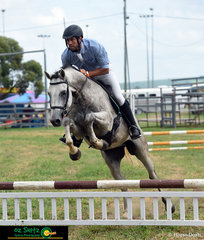 Having a cruise around the 65cm Show Jumping class at the 2020 Killarney Show was Robert Goodwin and Warrego Lincoln..