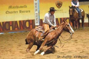 Shane Crawford from Tasmania rode Tassa Gold Fever to score 146 in the 1st Go Round of the EquiPro Derby.