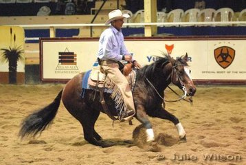 Frank Green rode Spot A Spinalong to score 133 in the 1st Go Round of the EquiPro Derby.