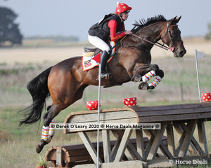 """Winners in the CCN 2.5*, Sophie Bennett riding """"Bvlgari"""" with a winning score of 34.10, after faultless Cross Country and Showjumping rounds finsihing on her Dressage score"""