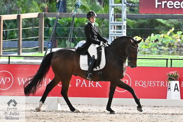 Sydney Hoffman rode her, 'Freedom C' to eighth place  in the Intermediate 1 Freestyle on the final day of the first weekend of the Willinga Park Dressage By The Sea.