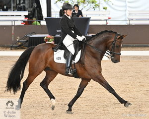 Helen Macaskill from NSW rode her 'F1 Sonny Bill' to fifth place in the Intermediate 1 Freestyle.