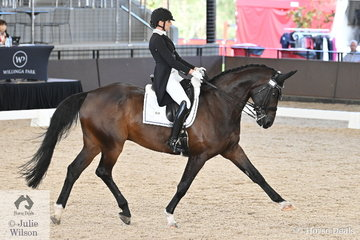 Shanon McKimmie from Victoria is pictured abaord her Quarterback gelding, 'Quebec 51' during the Intermediate 1 Freestyle.