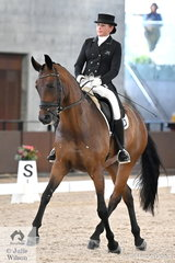 Well known and successful NSW rider, Linda Foster took third place in the Intermediate 1 Freestyle riding her, 'Neversfelde Samiro' with a score of 71.000%.