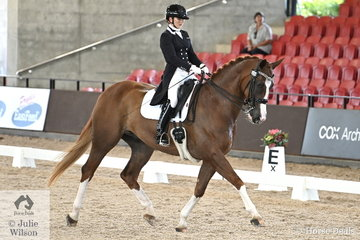 Successful young rider, Mary Warren rode her home bred, 'Mindarah Park Ramirus' by MP Ramadan to win the Intermediate 1 Freestyle with 72.150%.