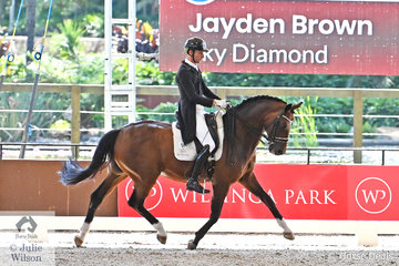 Jayden Brown had an outstanding show and is pictured aboard Terry Snow's imported, 'Sky Diamond' by Sir Donnerhall that won the Intermediate A/B Freestyle with 72.585%.