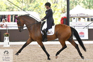 Well known and successful NSW rider, Lizzie Wilson-Fellows rode her own and Moire Kelly's, 'Let's Jazzabout' to third place in the Grand Prix Freestyle CDN.