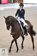 New Zealand rider, Victoria Wall is pictured abaord her 'Letty Lei Edh' by Limonit during the Grand Prix Freestyle CDI 4*.