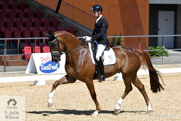 A busy Jayden Brown rode Terry Snow's impressive and imported Quarterback gelding, 'Quincy B' to win Round 2 of the Six Year Old Young Horse class with a super 88%.