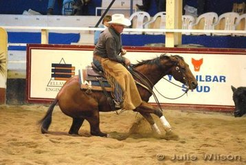 Jeff Johnson rode Lawsons Spin Chiq to score 128 in the 1st Go Round of the EquiPro Derby.