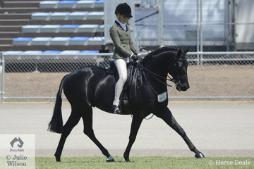 Tia McKenzie rode her, 'Mirinda Jackpot' to win the class for Riding Pony Show Hunter 14-14.2hh and go on to take out the Riding Pony Hunter Championship.