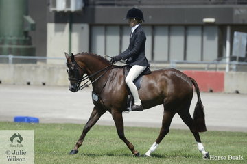 Ebonie Lee rode the Lee Family's, 'PP Question Time' to win the class for Riding Pony Hunter 13.2-14hh.