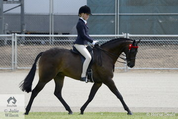 Tia McKenzie rode her, 'Rosedale Darlington' to win the class for Child's Show Pony/Show Hunter Pony 13.2-14.2hh.