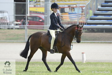 Olivia Carter rode the J and R Equestrian and L Malcaus nomination, 'Malibu Park Blue Kitty' to take second place in the class for Child's Show Pony/Show Hunter Pony 12-13.2hh and was declared Reserve Champion.