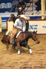 Erin Shorty Sharee ridden by Russ Benson scored 144.5 in the 1st Go Round of the EquiPro Derby.