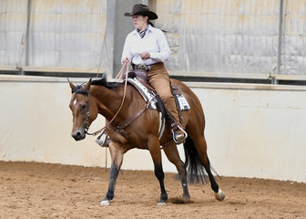 Karen O'Keefe  riding In Fancy Style in the Open Ranch Riding.
