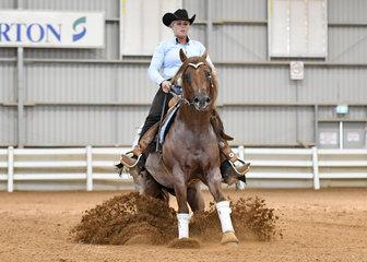 Nu Too Much  ridden by Lana Kelderman in the Junior Horse reining.