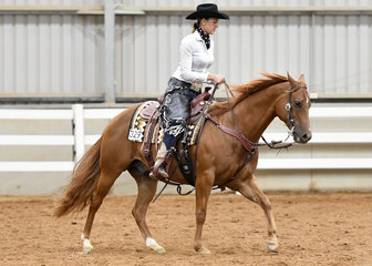 Yvette Wealands riding MPQ Rich N Classic in the Open Ranch Riding.