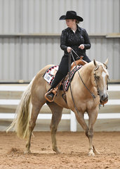 Bethany Allen on Pass The Scotch in the Novice Amateur Western Horsemanship.