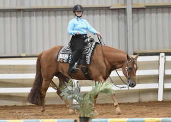 Billianna Obersnell riding INXS in the Junior Youth Trail 7-13 years.