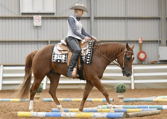 Carolyn Allen riding Im In No Doubt , in the Select Amateur Trail.