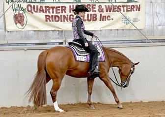 Mikayla Gaunt riding Minnie The Moocher in the Senior Youth Western Pleasure 14-18 years.
