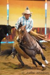 Phil Gray rode Buddyboonsmal to score 138 in the 1st Go Round of the EquiPro Derby.