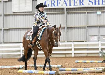 Vicki Larson riding Icee Zipper Blues in the Novice Amateur Trail