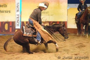 Jeff Johnson rode Original Spin to score 135 in the 1st Go Round of the EquiPro Derby.