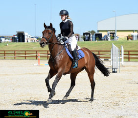 After jumping clear in the first round in the Open 90cm Class and then stopping the clock at 34.15 seconds in the second round was Sarah Wilston and 'Quinrose'.