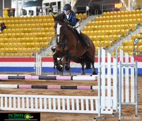 Competing in the Michael Lees Farrier Service sponsored 1.10m Grand Prix was 'Kyan Dexterous' and Bronwyn McCarthy in the saddle at the 2020 Tamworth Indoor Championships.