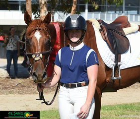 Nicole Kennedy and 'Astro' take the well deserved second place in the lineup for the Open 1m Thoroughbred class held at the 2020 Tamworth Indoor Championships.