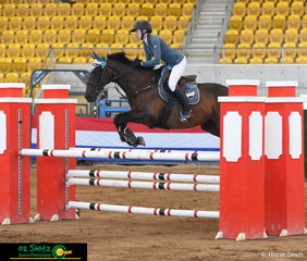 Taking the win with an outstanding time of 30.91 seconds in the Thoroughbred Sport Horse Association 1.10m Jump Off was Emily Patterson and 'Little Wick' at the Tamworth Indoor Championships.