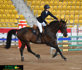 Olivia Gostelow was very happy with 'La Luna Cuchinelli' at the end of her 1.10m Junior round on Sunday morning at the Tamworth Indoor Championships held at AELEC.