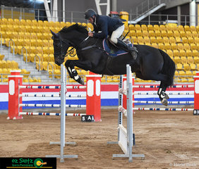 Brock Harvey and 'Powerhouse Park Ego Roc' had a great round in the Peel River Produce 1.40m Grand Prix at the 2020 Tamworth Indoor Championships.