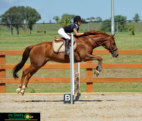 With a double clear round and a jump off time of 32.29 seconds, Shelly Cox and 'Mr Scobbie Doo' were quick enough to take out second place in the 70cm Junior class on Friday held at AELEC for the Tamworth Indoor Championships.