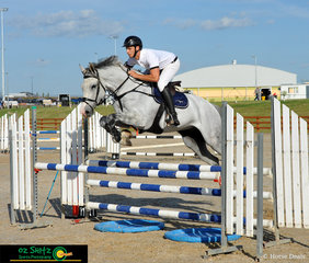 A great weekend for Sydney based rider Mitchell Peulic taking out first and second place in the 1m class on Sunday morning on 'Hirocco VDL' (Pictured) and Finch Farm Lucas at the Tamworth Indoor Championships.