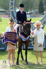 The Cowgill Family's, 'Bayview Toyboy' ridden by Ella Cowgill won the class for Child's Hack 15-16hh and went on to be declared Romsey Park Champion Child's Hack. Pictured L-R class steward and Judge, Helen Heagney.