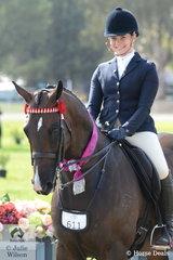 Sarah Samsa is pictured aboard the Cowgill Family's winning Child's Hack Over 16hh and Reserve Champion Child's Hack, 'Bel Air'.