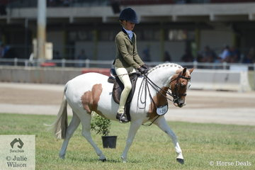 Olivia Carter rode Blake Boulding's eye catching, 'Brampton La Di Da' to take second place in the strong class for Child's Small Show Hunter Pony N/E 12hh.