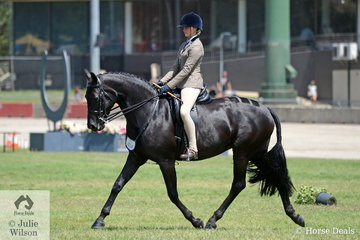 Charlotte Richardson has had a successful show with the Vancouver Park nomination, 'Brierly Scarlett'. They are pictured on their way to winning the class for Child's Show Hunter Over 16hh.