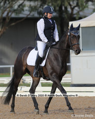 Kerrie Tresize in the Preliminary 1A Dressage Age Group 50-59 y/o riding Ashes Of Jupiter