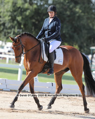 "Tracy Lee rode ""Gemme Cache"" in the Preliminary 1A Dressage Riders 50-59 y/o"
