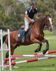 "Boyce Deverell in the Age Group 60+ 65cm Combined Training riding ""Finn McCool"""