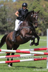 """Jo Harris riding """"Ludger"""" in the 80cm Combined Training Age Group 40-49 y/o"""