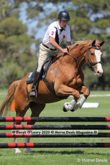 """Anthony Nemaric rode """"Indian Scout"""" in the 80cm Combined Training Age Group 60+ years"""