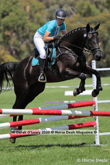 """Jessica Welch riding """"DJ Jacques De Noir"""" in the 80cm Combined Training age Group 40-49 y/o"""