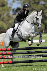 """Sarah Oram in the 80cm Combined Training Age Group 30-39 y/o riding """"Basil"""""""