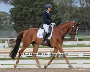 """Joanna Barry rode """"Jaybee Ad Astra"""" in the Novice 2A Riders group 40-49 y/o"""